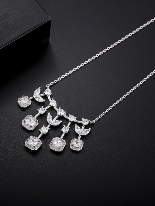 platinum Brass Cubic Zirconia Geometric Statement Necklace