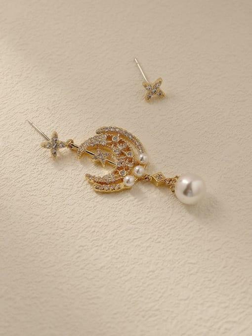 HYACINTH Brass Cubic Zirconia Asymmetry Moon Vintage Drop Trend Korean Fashion Earring 0