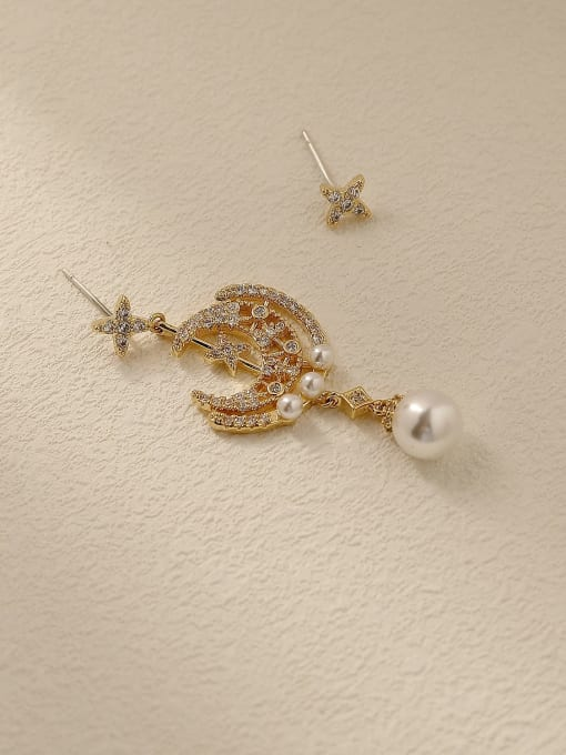 HYACINTH Brass Cubic Zirconia Asymmetry Moon Vintage Drop Trend Korean Fashion Earring