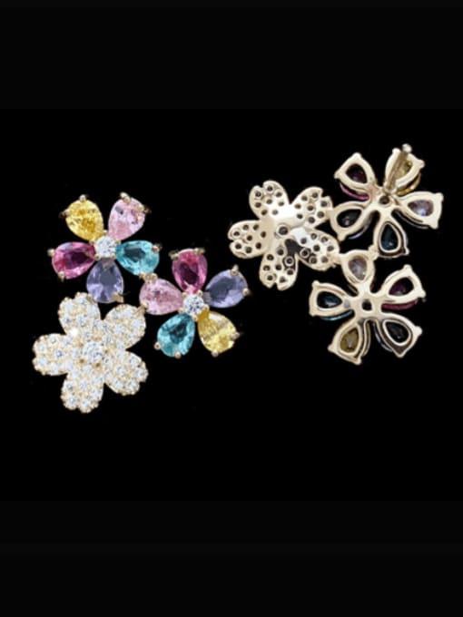 SUUTO Brass Cubic Zirconia Flower Luxury Stud Earring 1