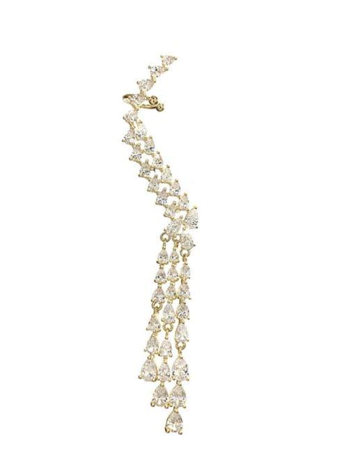 Single right ear Brass Cubic Zirconia Tassel Trend Single Earring