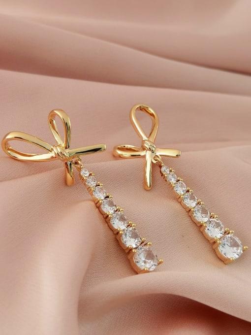 14k Gold Brass Cubic Zirconia Bowknot Trend Drop Long Earring