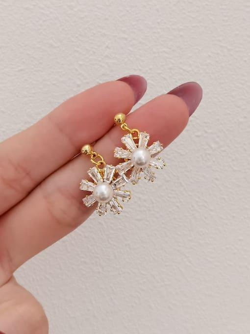 HYACINTH Brass Cubic Zirconia Flower Minimalist Drop Earring