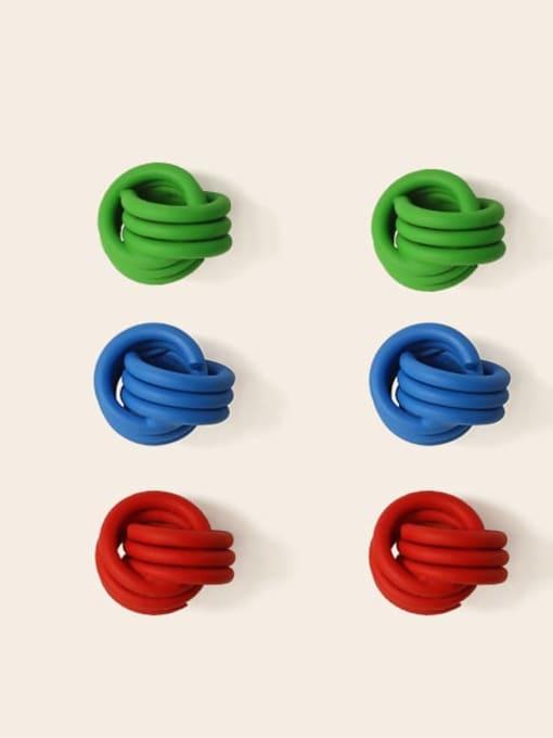 Five Color Brass Enamel Geometric Cute Stud Earring