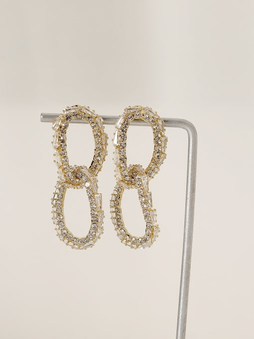 HYACINTH Brass Cubic Zirconia Geometric Vintage Drop Earring 0