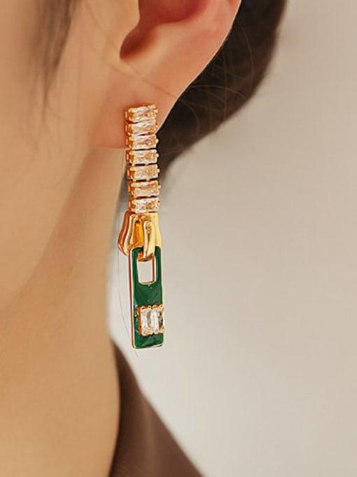 Dark green oil dripping Earrings Brass Cubic Zirconia Rectangle Minimalist Drop Earring
