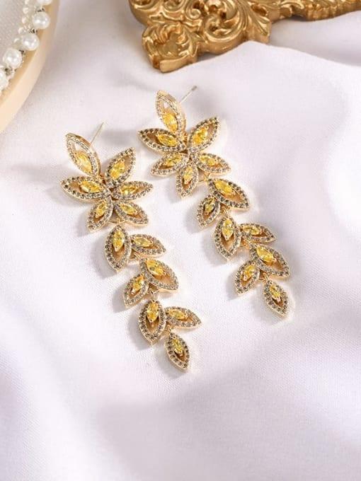 yellow Brass Cubic Zirconia Flower Statement Drop Earring