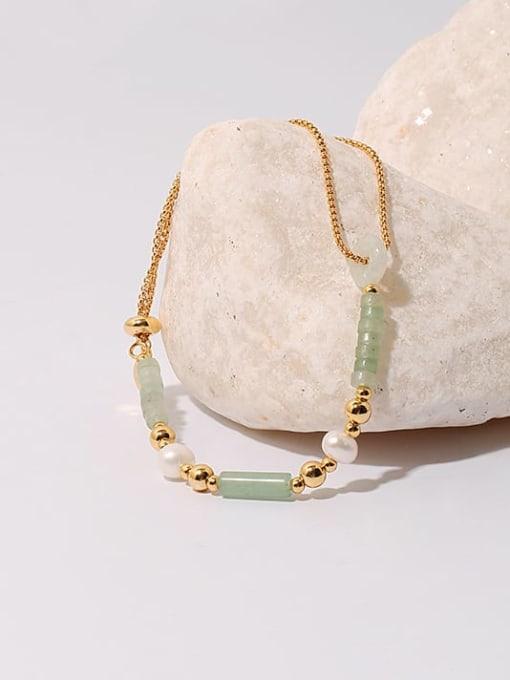 TINGS Brass Jade Geometric Hip Hop Strand Bracelet