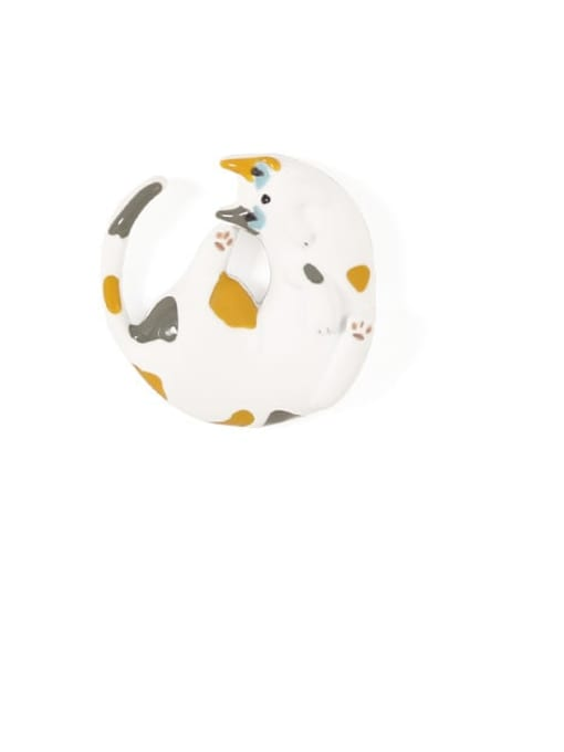 Five Color Alloy White Enamel Cat Cute Stud Earring 4