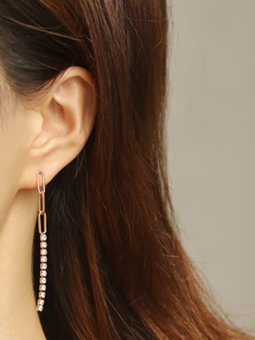 ACCA Brass Cubic Zirconia Tassel Minimalist Threader Earring 1