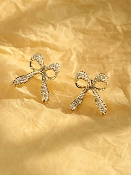 14k Gold Brass Cubic Zirconia Bowknot Ethnic Stud Earring