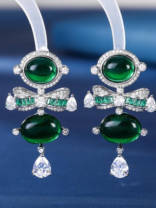 green Brass Cubic Zirconia Irregular Luxury Drop Earring