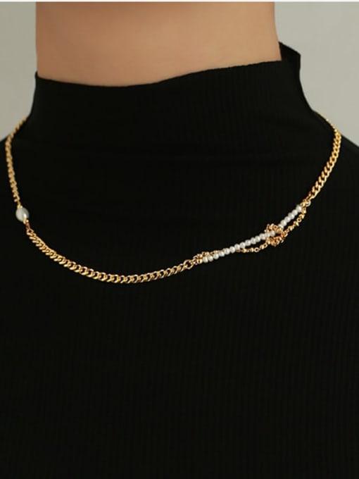 ACCA Brass Imitation Pearl Geometric Hip Hop Necklace 1