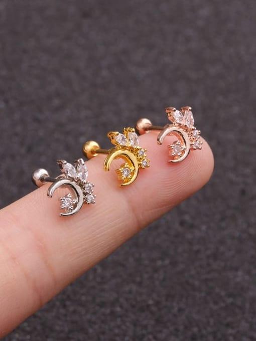 HISON Brass Cubic Zirconia Star Cute Stud Earring 1