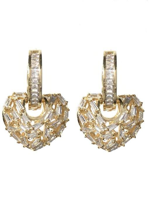 golden Brass Cubic Zirconia Heart Minimalist Huggie Earring