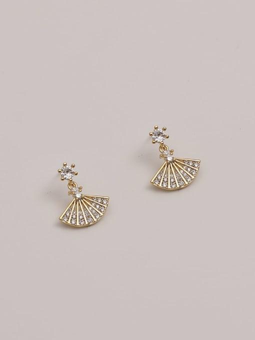 14K gold Brass Cubic Zirconia Geometric Minimalist Scalloped  Drop Earring