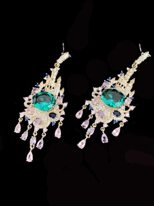 SUUTO Brass Cubic Zirconia Tassel Bohemia Cluster Earring 1