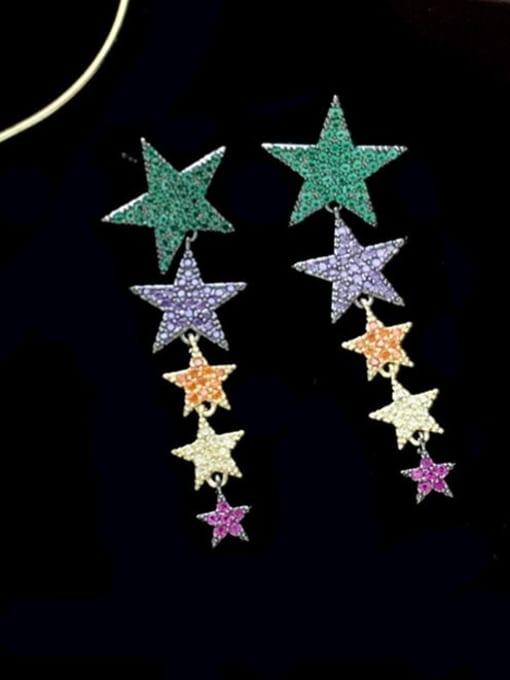 SUUTO Brass Cubic Zirconia Star Ethnic Drop Earring 1