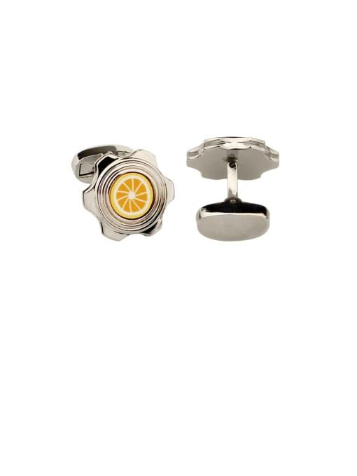 white Steel Brass Enamel Friut lemon Vintage Cuff Link