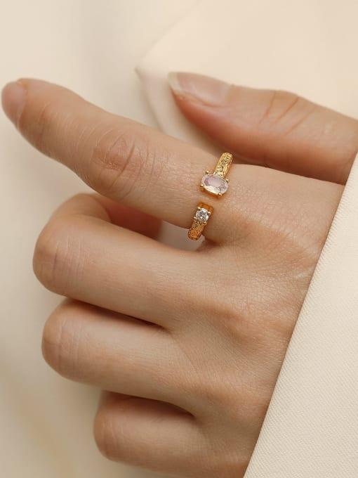 HYACINTH Alloy Glass Stone Geometric Minimalist Band Ring 1