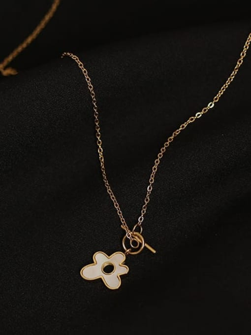 ACCA Brass Shell Flower Minimalist Pendant Necklace 0