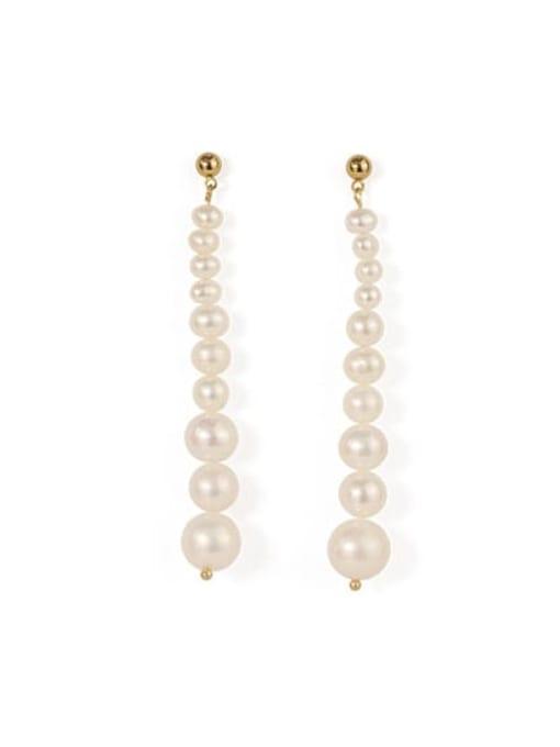 white Brass Freshwater Pearl Tassel Vintage Drop Earring