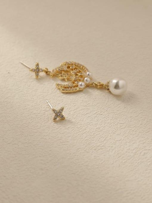 HYACINTH Brass Cubic Zirconia Asymmetry Moon Vintage Drop Trend Korean Fashion Earring 4
