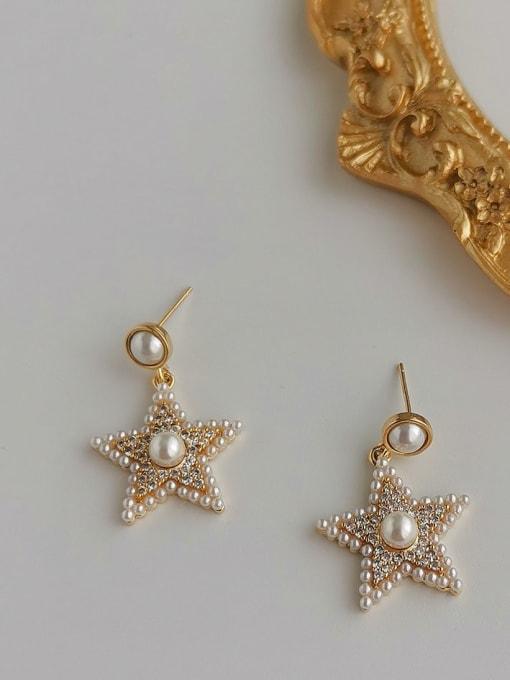 gold 14K Brass Cubic Zirconia Star Vintage Stud Earring