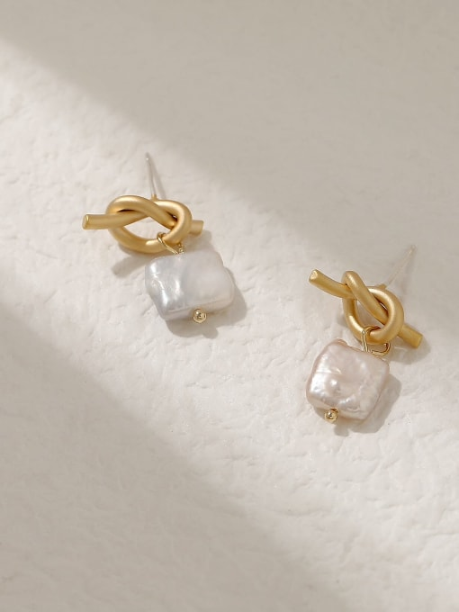 Dumb gold Brass Freshwater Pearl Geometric Vintage Drop Trend Korean Fashion Earring