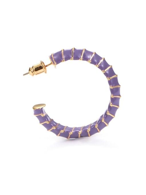 C-shaped Earrings Brass Enamel Geometric Minimalist Hoop Earring