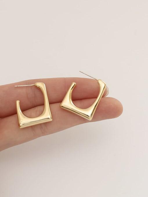 HYACINTH Brass  Smooth Geometric Minimalist Stud Earring 1