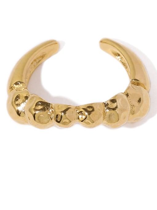 Geometric ring (not adjustable) Brass Smooth Irregular Minimalist Band Ring