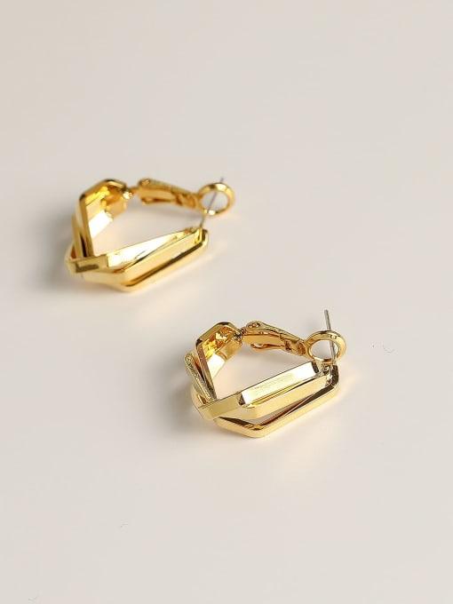 HYACINTH Brass Geometric Minimalist Huggie Earring 3