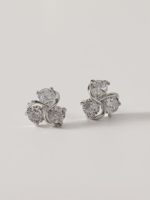 White K Brass Cubic Zirconia Flower Cute Stud Earring