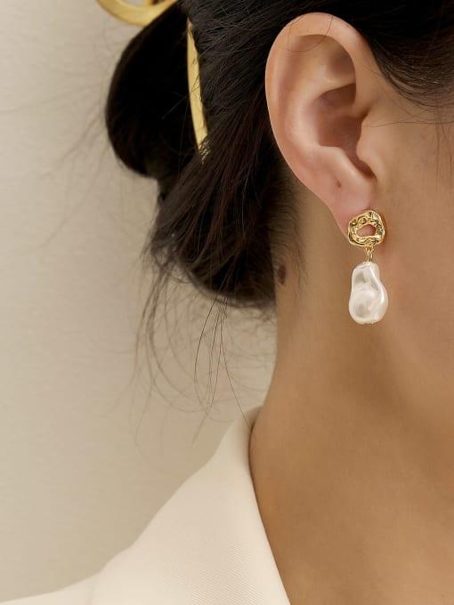 HYACINTH Brass Imitation Pearl Water Drop Minimalist Drop Earring 1
