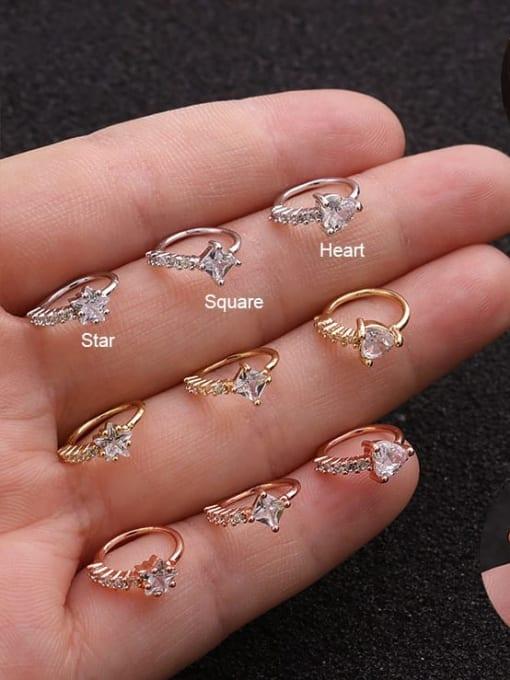 HISON Brass Cubic Zirconia Heart Cute Huggie Earring