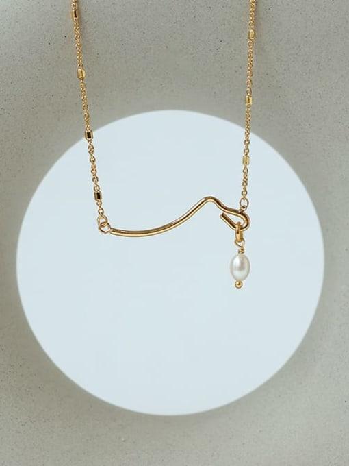 Five Color Brass Imitation Pearl Geometric Minimalist Necklace 2