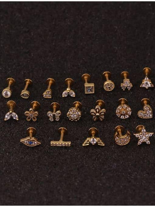 HISON Brass Cubic Zirconia Star Hip Hop Stud Earring 4