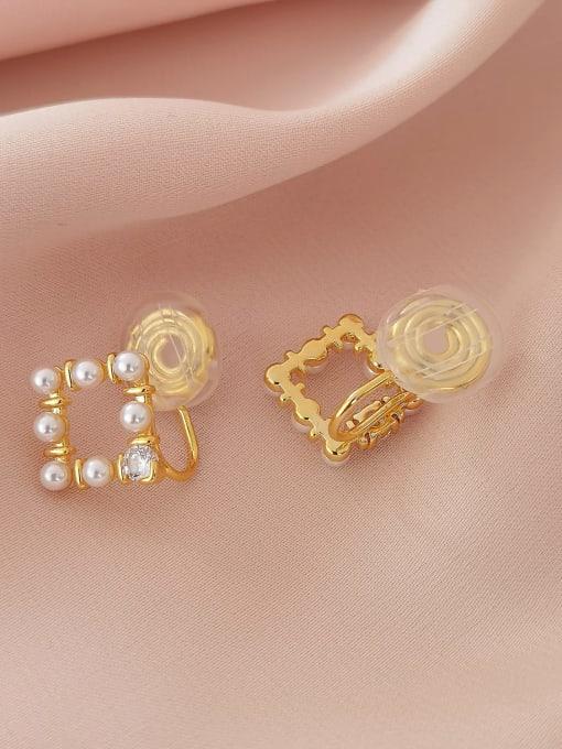 16K gold Brass Imitation Pearl Geometric Vintage Clip Earring