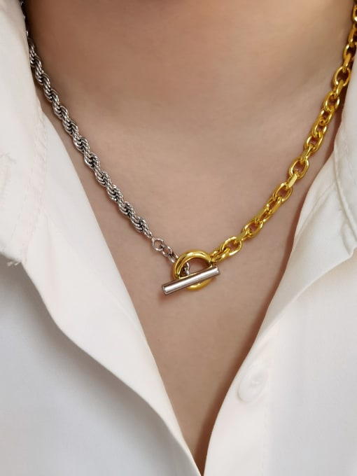 HYACINTH Brass Hollow  Geometric Chain Vintage Necklace 1