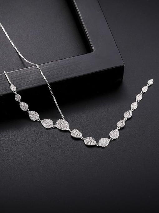 YILLIN Brass Cubic Zirconia Tassel Minimalist Tassel Necklace 1