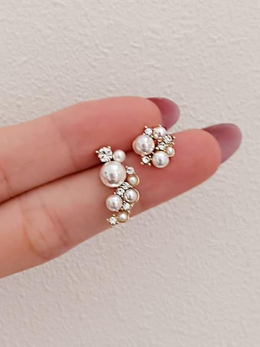 HYACINTH Brass Imitation Pearl Asymmetry Irregular Minimalist Stud Earring 3