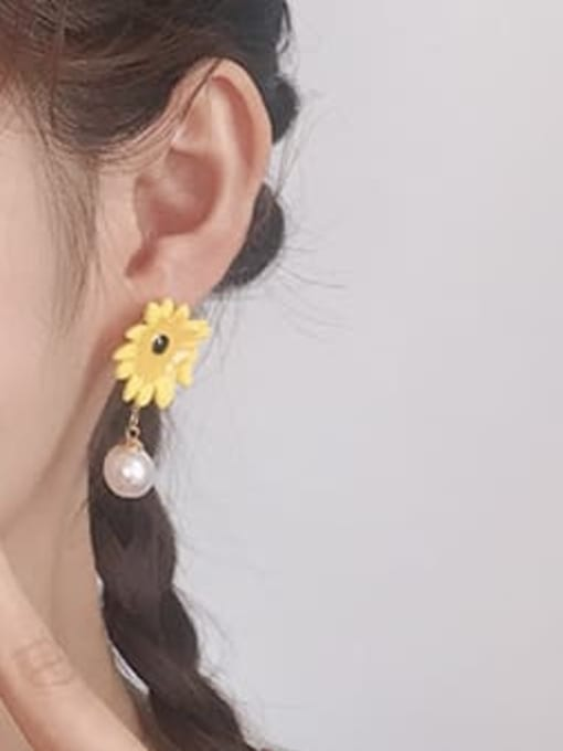 Five Color Alloy Imitation Pearl Enamel Flower Cute Stud Earring 1