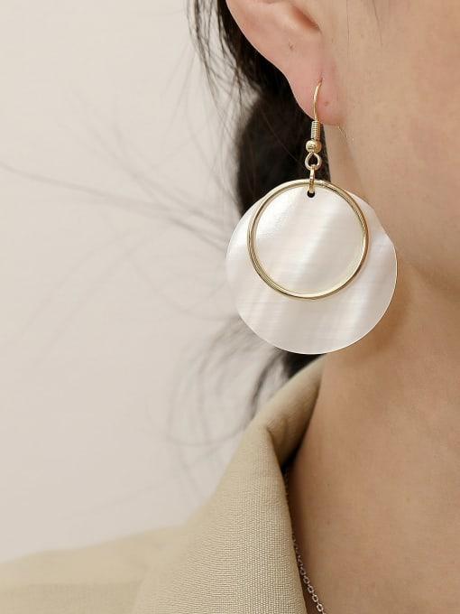 HYACINTH Brass Shell Geometric Minimalist Hook Earring 1