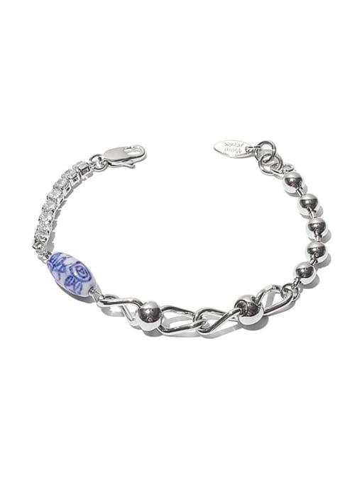 Bracelet (porcelain bead pattern random) Brass Cubic Zirconia Geometric Vintage Link Bracelet