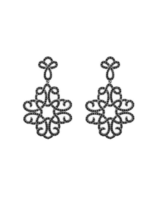 Black hollow flower Brass Cubic Zirconia Flower Hip Hop Drop Earring