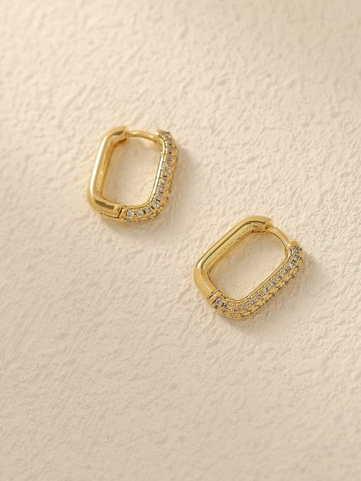 HYACINTH Brass Cubic Zirconia Geometric Vintage Huggie Trend Korean Fashion Earring 0