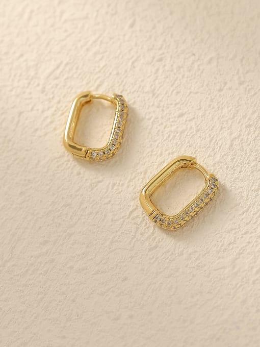 HYACINTH Brass Cubic Zirconia Geometric Vintage Huggie Trend Korean Fashion Earring