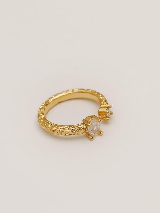 HYACINTH Alloy Glass Stone Geometric Minimalist Band Ring