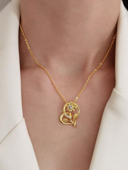 HYACINTH Brass Rhinestone Heart Vintage Necklace 1